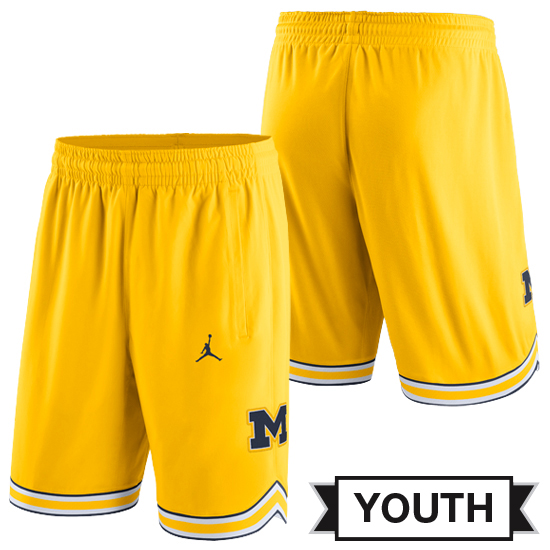 Jordan University of Michigan Basketball Youth Yellow Replica Shorts
