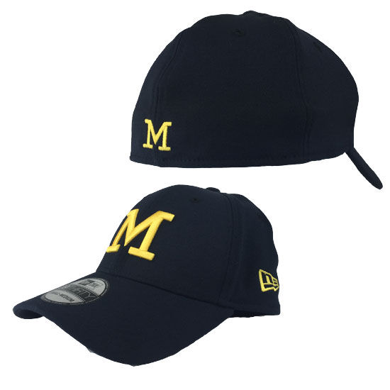 super popular b7ec6 4bba4 New Era University of Michigan Navy Thin   M   39Thirty Stretch Fit Hat