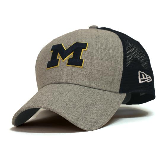 New Era University of Michigan 9Forty Heathered Turn Meshback Snapback Hat
