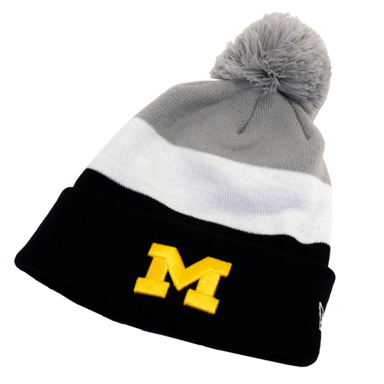 dd9db96398727 ... canada new era university of michigan color block cuffed knit hat with  pom 64d83 19bff