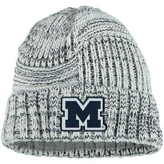 New Era University of Michigan Women's White Sideline Cuffed Knit Hat
