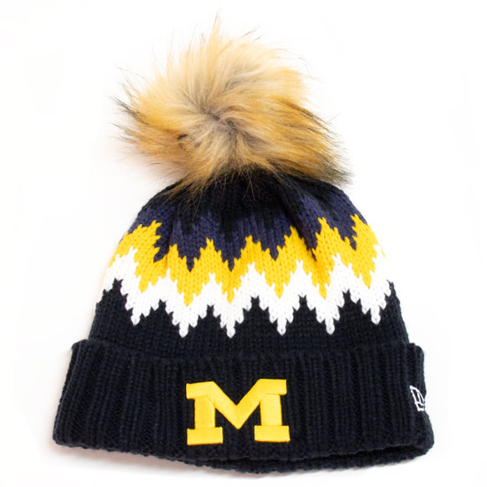 New Era University of Michigan Women's Glacier Cuffed Pom Knit Hat