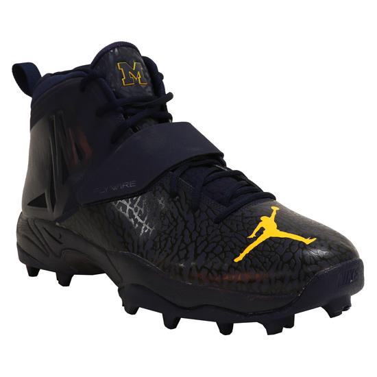 Jordan University of Michigan Football Team Issued ZM Code Elite Stove Shark Cleats
