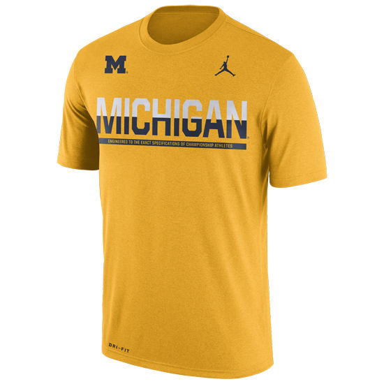 Jordan University of Michigan Football Yellow Dri-FIT Legend Sideline Tee