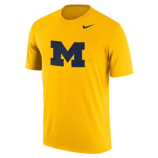 Nike University of Michigan Yellow Dri-FIT Legend Logo Tee