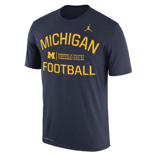 Jordan University of Michigan Football Navy Dri-FIT Legend Lift Tee