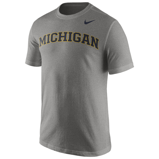 Nike University of Michigan Charcoal Heather Gray Basic Tee