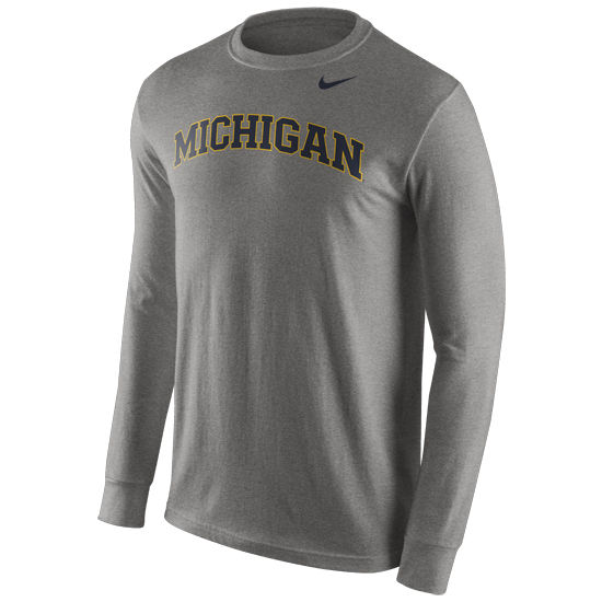 Nike University of Michigan Heather Gray Long Sleeve Basic Tee