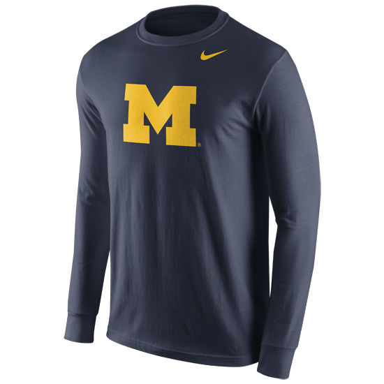 Nike University of Michigan Navy Long Sleeve Basic Block ''M'' Logo Tee