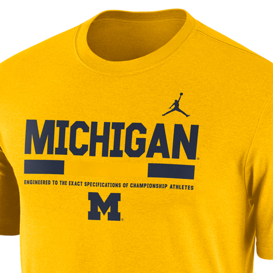 size 40 5f306 0f36f Jordan University of Michigan Football Yellow Dri-Fit Legend Staff Sideline  DNA Tee