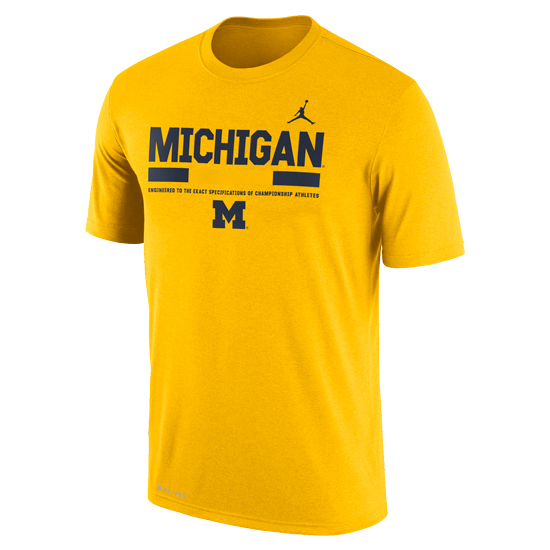 premium selection 6d22b 4e146 Jordan University of Michigan Football Yellow Dri-Fit Legend Staff Sideline  DNA Tee. Product Thumbnail Product Thumbnail Product Thumbnail