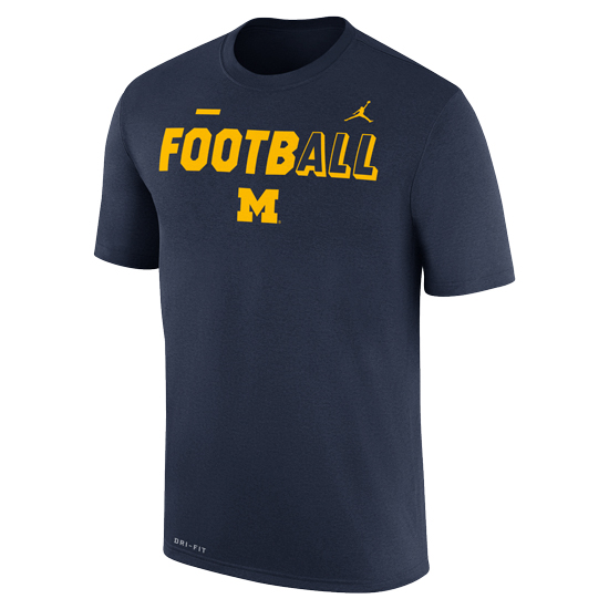 Jordan University of Michigan Football Navy FootbALL DNA Dri-FIT Legend Tee