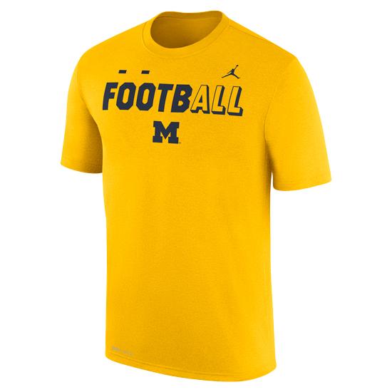 Jordan University of Michigan Football Yellow FootbALL DNA Dri-FIT Legend Tee