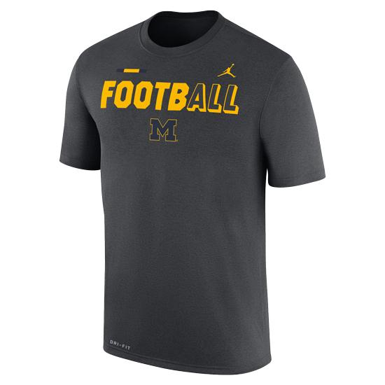 Jordan University of Michigan Football Anthracite FootbALL DNA Dri-FIT Legend Tee
