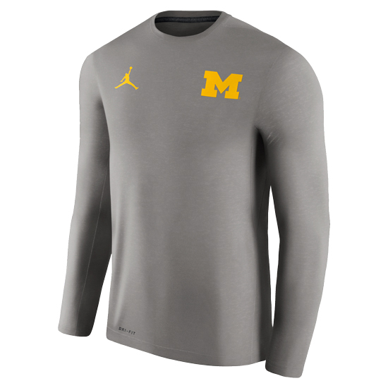 Jordan University of Michigan Football Charcoal Heather Gray Long Sleeve Dri-FIT Touch Coaches Tee