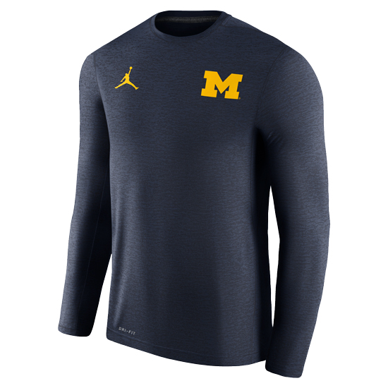 Jordan University of Michigan Football Navy Long Sleeve Dri-FIT Touch Coaches Tee