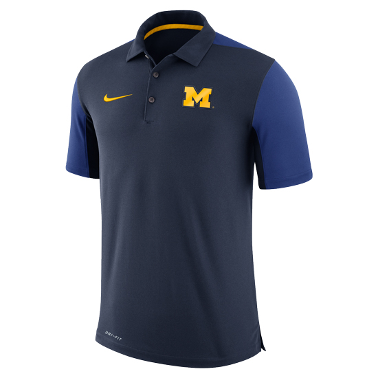Nike University of Michigan Football Navy Color Block Team Issue Polo