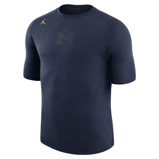 Jordan University of Michigan Football Heather Navy 23 Tech Cool Dri-FIT Tee