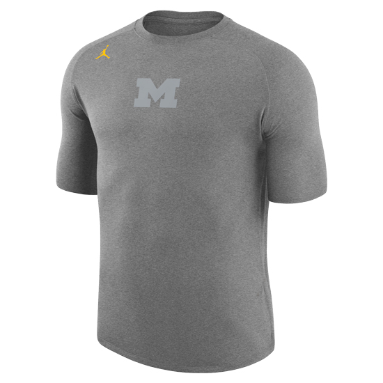 Jordan University of Michigan Football Heather Gray 23 Tech Cool Dri-FIT Tee