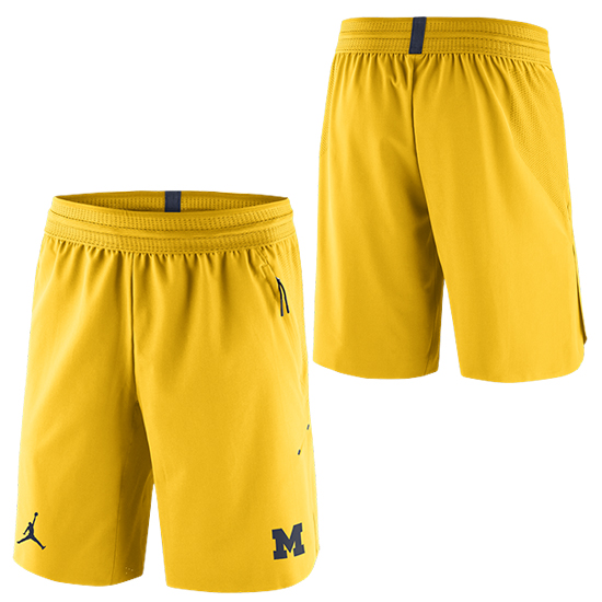 fef597f39fa6 Jordan University of Michigan Football Yellow 23 Tech Dry Knit Shorts