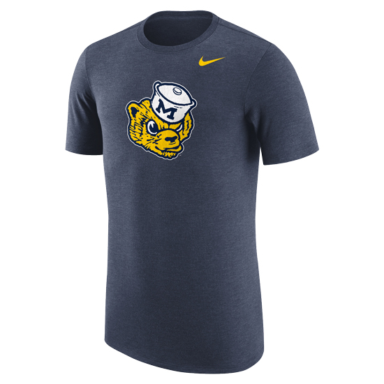 Nike University of Michigan Heather Navy College Vault Wolverine Triblend Tee