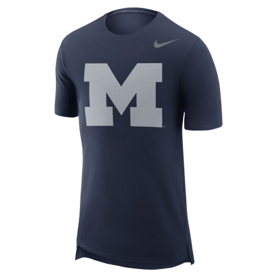 Nike University of Michigan Navy Enzyme Washed Droptail Tee