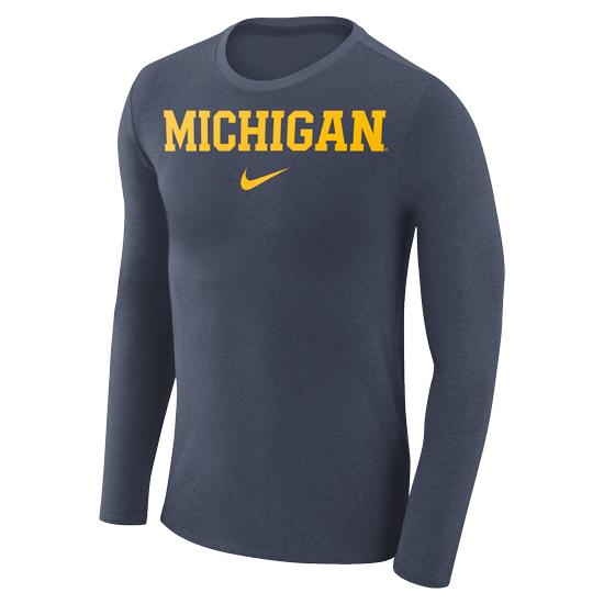 Nike University of Michigan Heather Navy Long Sleeve Marled Basic Tee