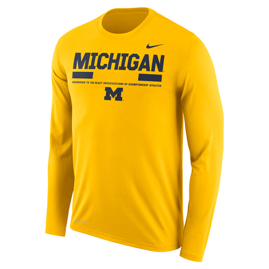 quality design 70e22 b3b96 Nike University of Michigan Football Yellow Long Sleeve Dri-FIT Legend  Staff Sideline DNA Tee. Product Thumbnail Product Thumbnail Product  Thumbnail