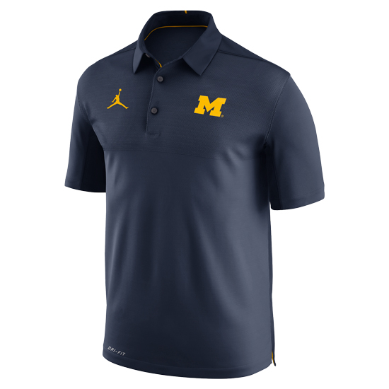 Jordan University of Michigan Football Navy Elite Dri-FIT Polo