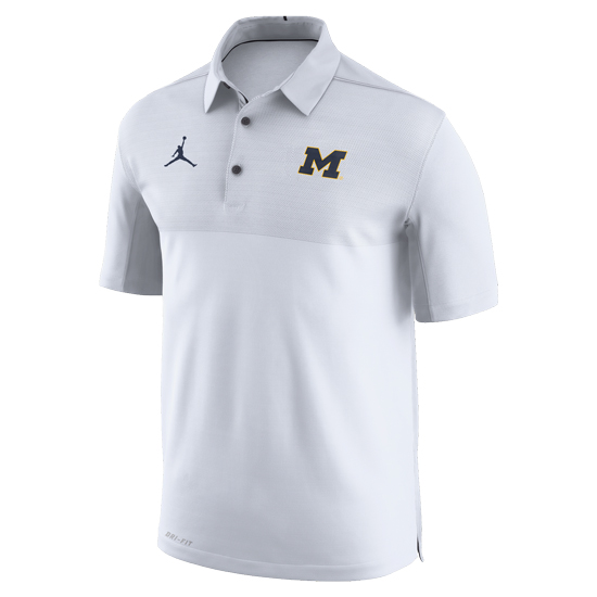 Jordan University of Michigan Football White Elite Dri-FIT Polo