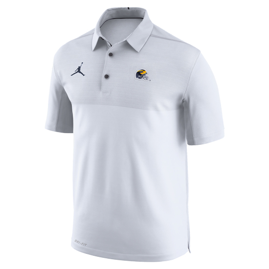 Jordan University of Michigan Football White Elite Dri-FIT Polo with Helmet Logo
