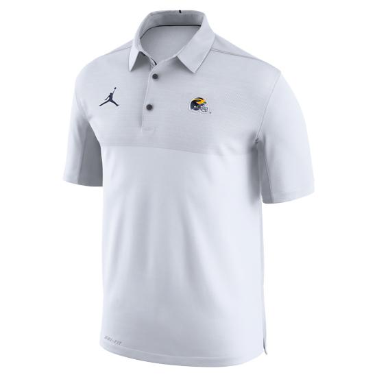 a5857d8fc7ee00 Jordan University of Michigan Football White Elite Dri-FIT Polo with Helmet  Logo. Product Thumbnail Product Thumbnail Product Thumbnail