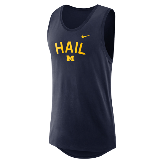 Nike University of Michigan Navy Dri-FIT Cotton Modern Tank Top