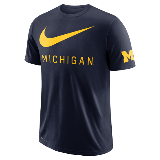 Nike University of Michigan Navy DNA ''Big Swoosh'' Dri-FIT Cotton Tee