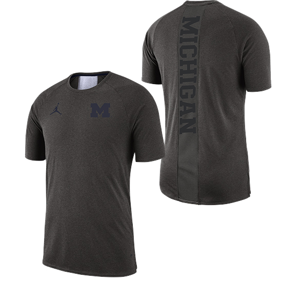 Jordan University of Michigan Football Carbon Heather Gray 23 Alpha Dry 2.0 Tee