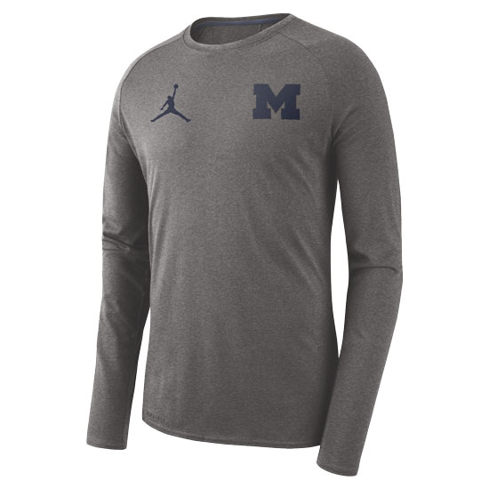 new style 1dacf cb10f Jordan University of Michigan Football Carbon Heather Gray 23 Alpha Dry  Long Sleeve Tee