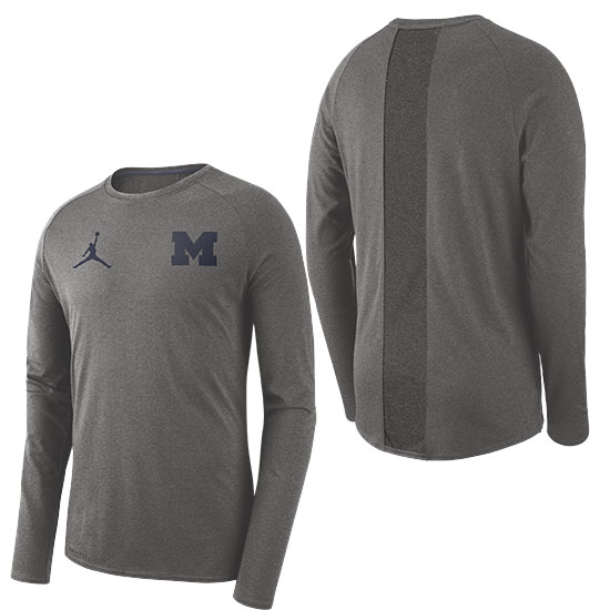 795dcdba0e27f6 Jordan University of Michigan Football Carbon Heather Gray 23 Alpha Dry  Long Sleeve Tee. Product Thumbnail Product Thumbnail Product Thumbnail