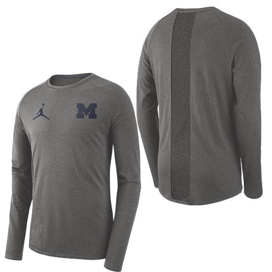 Jordan University of Michigan Football Carbon Heather Gray 23 Alpha Dry Long Sleeve Tee