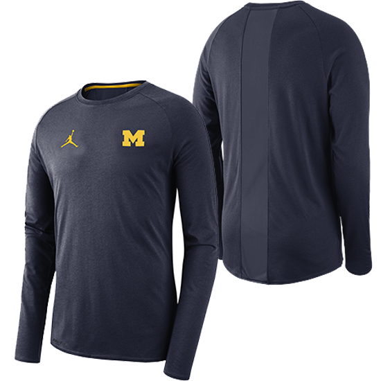 Jordan University of Michigan Football Navy 23 Alpha Dry Long Sleeve Tee