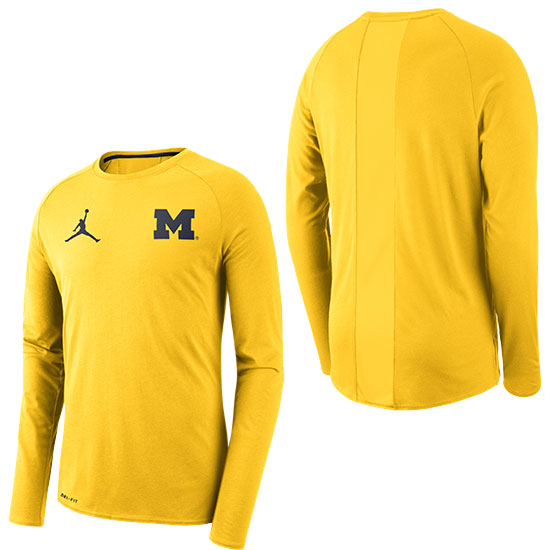 Jordan University of Michigan Football Maize 23 Alpha Dry Long Sleeve Tee