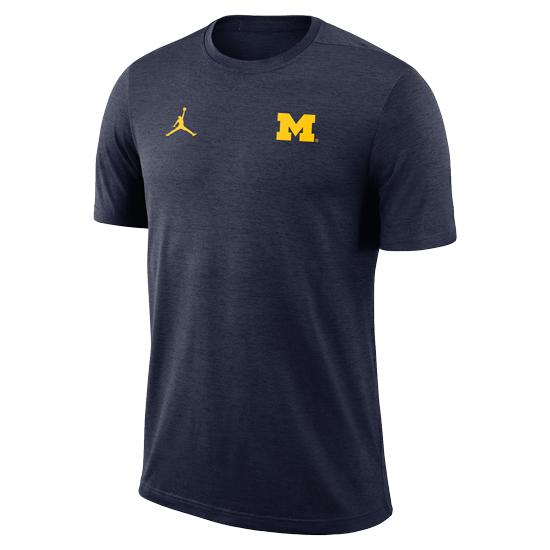 Jordan University of Michigan Football Heather Navy Coaches Dri-FIT Tee
