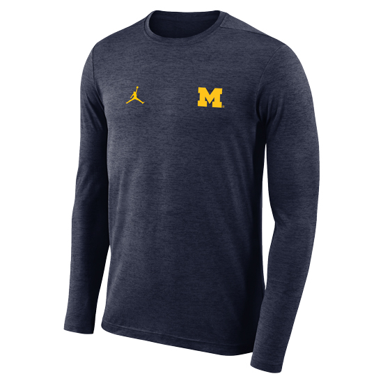 Jordan University of Michigan Football Heather Navy Coaches Long Sleeve Dri-FIT Tee