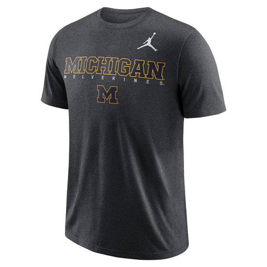 Jordan University of Michigan Football Charcoal Heather Gray Dri-FIT Cotton Facility Tee