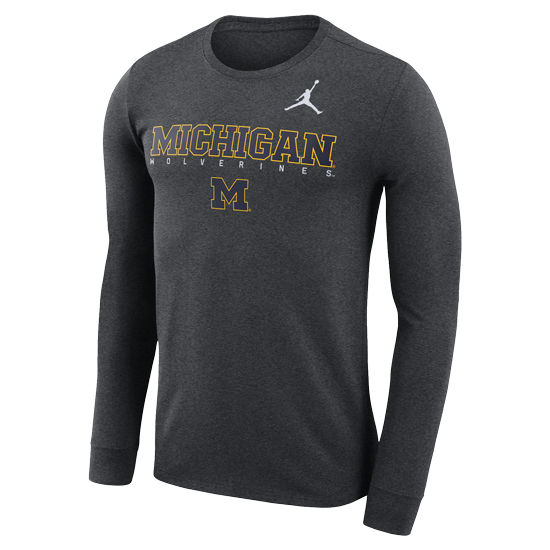 Jordan University of Michigan Football Charcoal Heather Gray Long Sleeve Dri-FIT Cotton Facility Tee