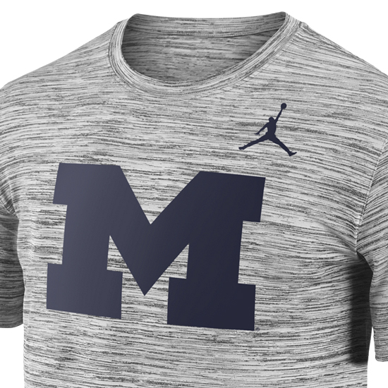 fd776ef4ce531a Jordan University of Michigan Football Charcoal Heather Gray Dri-FIT Legend  Travel Tee