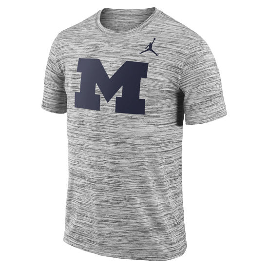 Jordan University of Michigan Football Charcoal Heather Gray Dri-FIT Legend Travel Tee