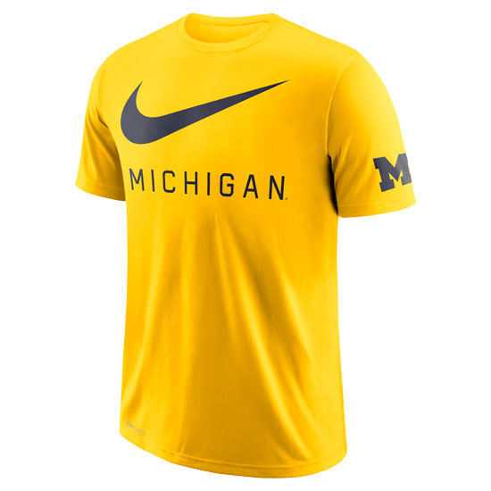Nike University of Michigan Maize DNA ''Big Swoosh'' Dri-FIT Cotton Tee