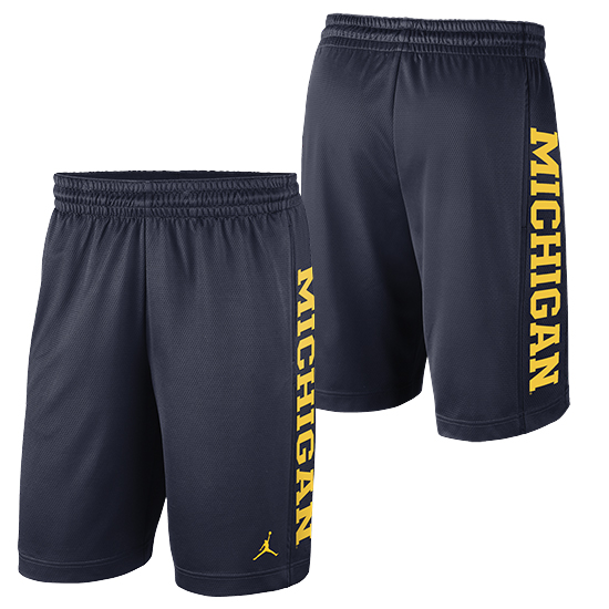 Jordan University of Michigan Football Navy Rise Dri-FIT Mesh Shorts