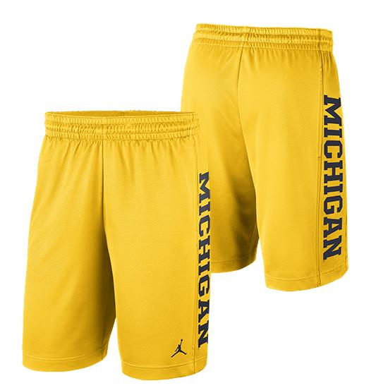 4b159819db4 Jordan University of Michigan Football Maize Rise Dri-FIT Mesh Shorts