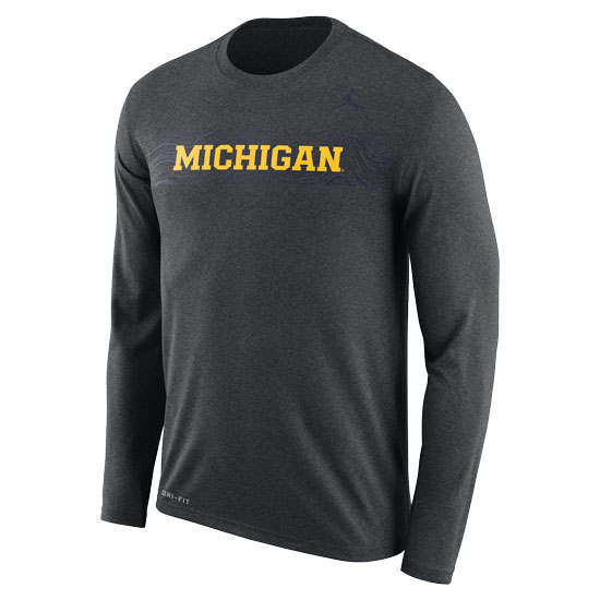 Jordan University of Michigan Football Charcoal Heather Gray Long Sleeve Sideline Dri-FIT Legend Tee